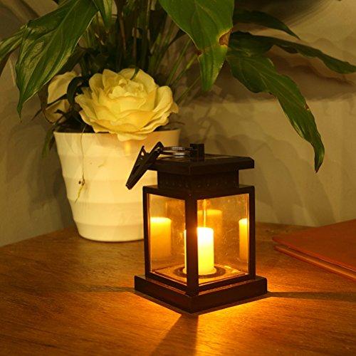 LEDMOMO Solar LED Candle Lantern Waterproof Vintage Lighting Lámpara colgante operada con pilas con abrazadera para Tree Pavilion Garden Yard Balcón Lawn Decoration (Small Window Grille Type)