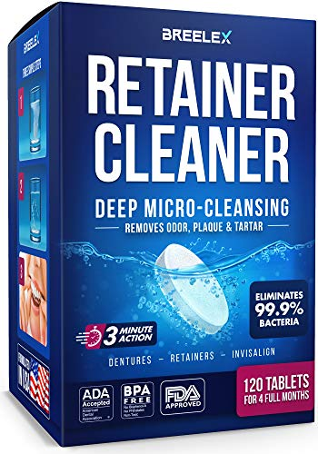 Retainer Cleaner Tablets - 120 pcs for 4 Months - Bright Denture Cleaning in 3 Minutes - Dental Retainers for Aligner - Mouth & Night Guards - False Teeth Whitening - Removes Odor & Plaque