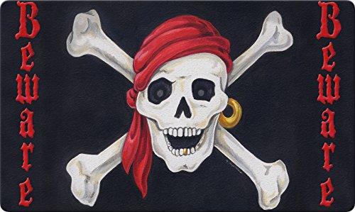 Toland Home Garden Beware 18 x 30 Inch Decorative Floor Mat Skull Bones Pirate Halloween Doormat