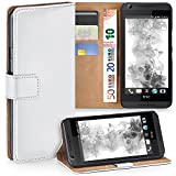 MoEx Premium Book-Hülle Handytasche kompatibel mit HTC Desire 626G | Handyhülle mit Kartenfach & Ständer - 360 Grad Schutz Handy Tasche, Weiß