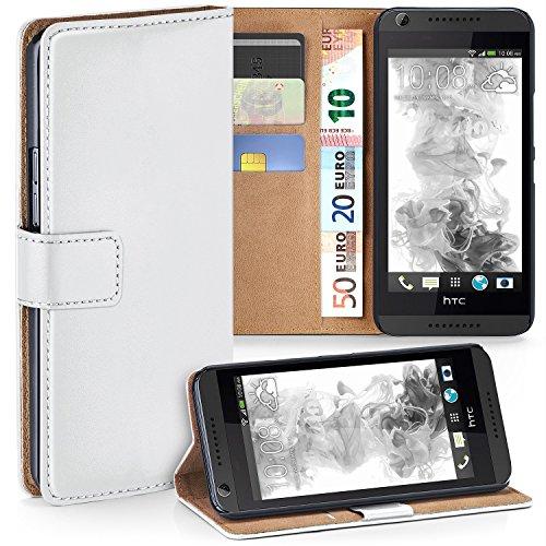 MoEx Premium Book-Case Handytasche passend für HTC Desire 626G | Handyhülle mit Kartenfach und Ständer - 360 Grad Schutz Handy Tasche, Weiß
