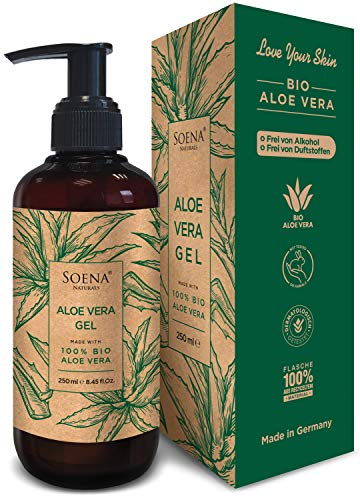 Aloe Vera Gel mit 100{cdeac857a28bbdfc1784bc30dd4e297aac752791e7359e8d501bdbdbb391934c} Bio Aloe Vera | Frei von Alkohol & Parfüm | NATURKOSMETIK | Tierversuchsfrei | Feuchtigkeitspflege von SoenaNaturals | After Sun - 250ml - Made in Germany