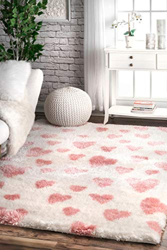 nuLOOM Olivia Heart - Alfombra para Cuarto de bebé, 2 x 3 pies, Color Rosa