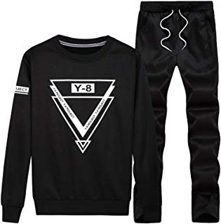 Lavnis Men's Casual Tracksuit Long Sleeve Running Jogging Athletic Sports Shirts and Pants Set