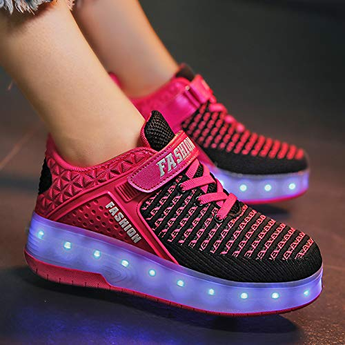 Vielone/_Lumi Toddler Kids Boys Girls Rollers Skate Shoes Wheels Sneakers with LED Light up Hook and Loop Tennis Shoes Luminous Walking Shoes Flashing Hiking Boots for Outdoor Sports
