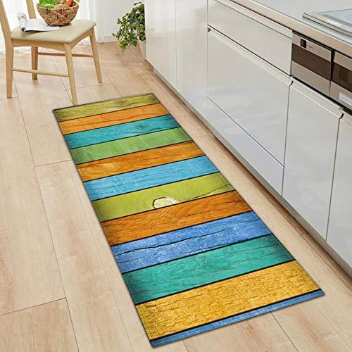 Effortsmy Alfombra de cocina para dormitorio, sala de estar, alfombra para entrada, hogar, pasillo, balcón, alfombra de madera, antideslizante, alfombra larga