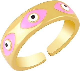Y2K Evil Eye Turkish Enamel Open Rings Colorful Promise Best Friend 14K Gold Plated for Women Adjustable Aesthetic Rings P...
