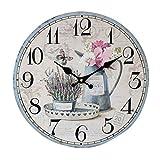 YOUJIA Reloj Redondo de Pared, Vintage Reloj de Madera para Sala de...