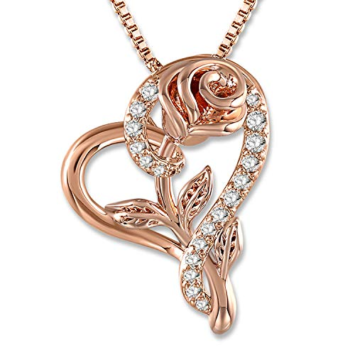 SNZM Love Heart Pendant Necklace Rose Flower Jewelry for Women, for Wedding, Birthday, Mothers Day Necklace (Rose Gold)