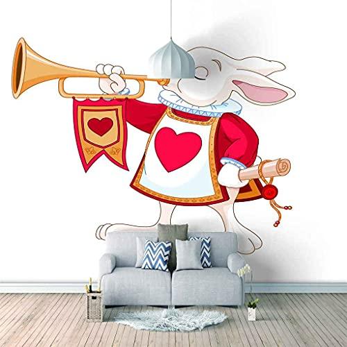 FVGKYS Papel Pintado Pared Dormitorio Infantil 3D Murales Conejito Animal De Dibujos Animados Autoadhesivo Fondo De Pantalla Sala De Estar Café Ktv Salón De Belleza Murales 200x150cm Tamaño Personaliz
