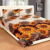 Panipat Textile Hub 100% Cotton Double BedSheet for Double Bed with 2 Pillow