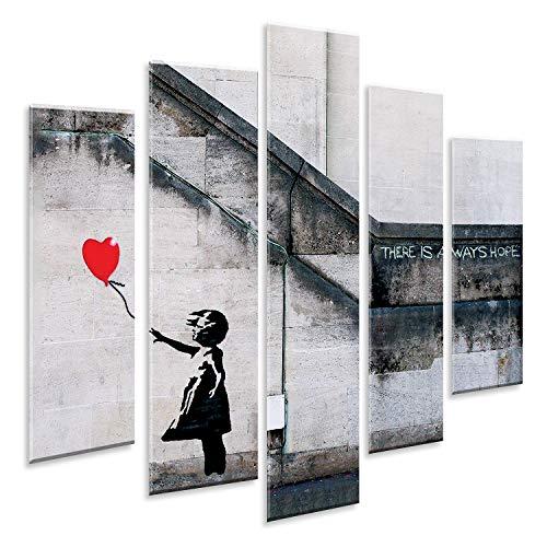 Giallobus - Pintura de Paneles múltiples 5 Piezas - Banksy - Niña con Globo Rojo - Impresión en forex con Efecto de Relieve - Listo para Colgar - 140x100 cm