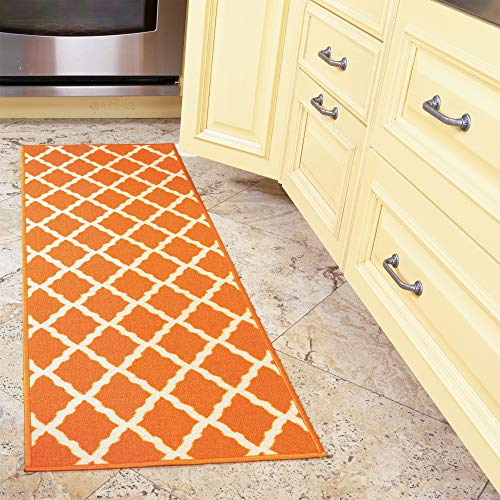 "Ottomanson Glamour Collection Contemporary Moroccan Trellis Design Kids Lattice Area Rug (Non-Slip) Kitchen and Bathroom Mat Rug, 20"" X 59"", Orange"