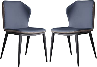 2 Pcs Leather Kitchen Dining Chair,for Living Room Bedroom Backrest Chair with Black Legs Study Hotel Computer Chair (Color : Blue)