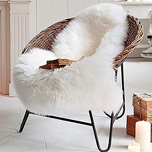 LOCHAS Deluxe Super Soft Fluffy Shaggy Home Decor Faux Sheepskin Rug for Bedroom Floor Sofa Chair, Chair Cover Seat Pad Couch Pad Area Carpet, 2ft x 3ft, Ivory White