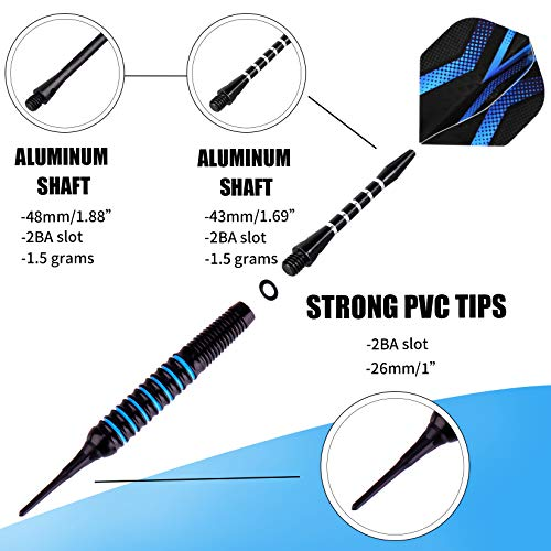 Grebarley Soft Tip Darts,Darts Plastic Tips,12 Pcs 18 Gram with 50 Extra Dart Tips,9 Flights, 6 shafts,Tool Kit for Electronic Dart Board