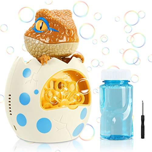 Gifort Maquina Burbujas Niños, Máquina de Burbujas Automática Portátil con Jabón Líquido 118 ml, Maquina Pompas Jabon de Huevos de Dinosaurio para Niños Juguete de Baño Fiestas Bodas
