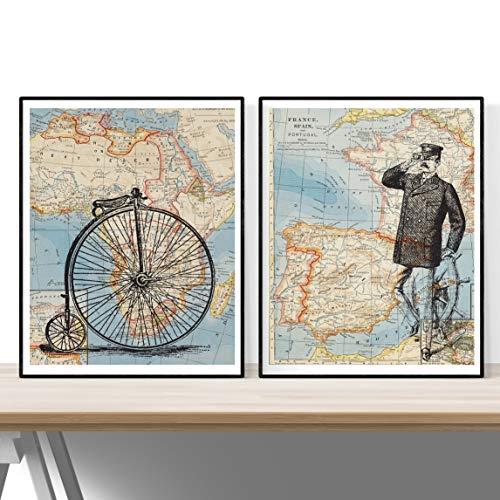 Nacnic Set 2 Stampe artistiche Sfondo con Cartina geografica Europea e Africana. Raffigurazione in Primo Piano di Una Bici d Epoca e Marinaio. Tema: Viaggi.