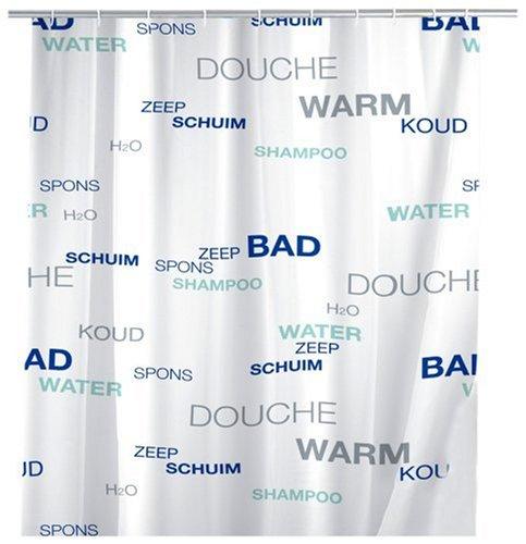 WENKO 19152100 Duschvorhang Water - Anti-Bakteriell, waschbar, mit 12 Duschvorhangringen, Kunststoff - Polyester, Mehrfarbig