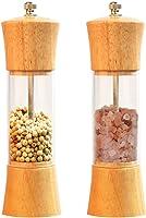 """Salt and Pepper Grinder Set,Lelekey 6.5"""" Wood Pepper Mill and Salt Grinder with Ceramic Rotor Adjustable..."""