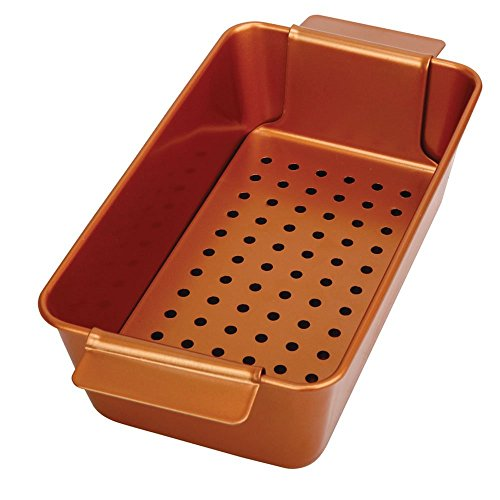 Non-Stick Meatloaf Pan 2-Piece Healthy Meatloaf Pan Set Copper Coating With Removable Tray Drains Grease
