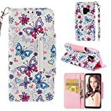 Case for Galaxy S9,Slim Kickstand Shockproof 3D Printing PU Leather Wallet Case with Wrist Strap & Magnetic Closure Inner Soft TPU Bumper Compatible with Samsung Galaxy S9 -Butterfly
