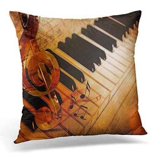 Awowee Funda de cojín de 40 x 40 cm, diseño de piano de jazz, color beis, estilo vintage, clásica, marrón, decoración abstracta para el hogar, funda de almohada cuadrada para sofá de cama