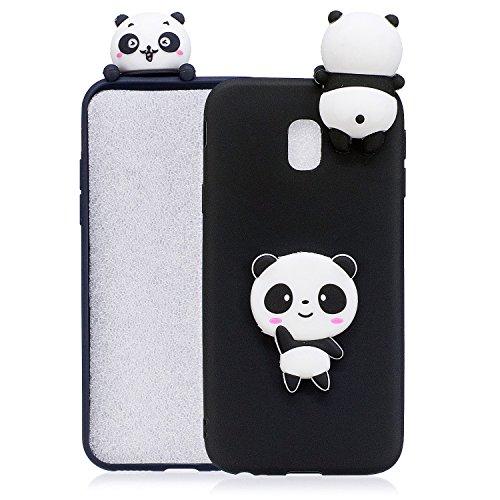 HopMore Compatibile con Cover Samsung Galaxy J7 2017 Silicone Disegni 3D Panda Animal Frutta Divertenti Fantasia Gomma Morbido Custodia Samsung J7 2017 AntiurtoCase Protettiva Slim - Panda Nera