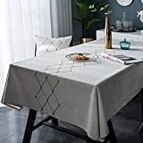 YDyun Mantel Antimanchas de Algodón y Lino Mantel para Mesa Resistente al Aceite Bordado Impermeable pequeño Fresco