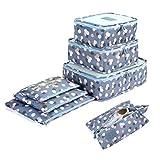 7 Set Sistema di Cubo di Viaggio - 3 Cubi di Imballaggio + 3 Sacchetti Borsa+ 1 Borsa portascarpe - Perfetto di Viaggio Dei Bagagli Organizzatore (2Blue Flower)