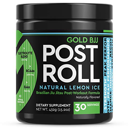 Gold BJJ PostRoll - Jiu Jitsu Post Workout Supplement with EAA & BCAA Essential Amino Acids - Martial Arts Specific Post-Workout Powder (Lemon Ice, 30 Servings)