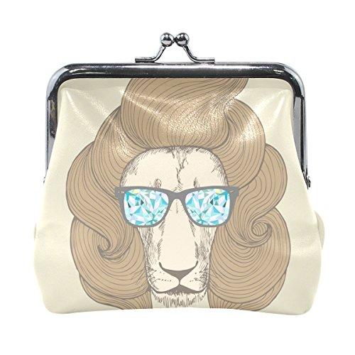 TIZORAX Chic Haircut mit Brille Löwe Portrait Münzgeldbörse Kleingeldbeutel Geldbörse für Frauen Mädchen