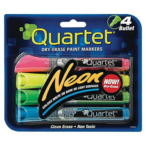 Quartet Glo-write Neon Dry-Erase Markers, Bullet Tip, Assorted Colors