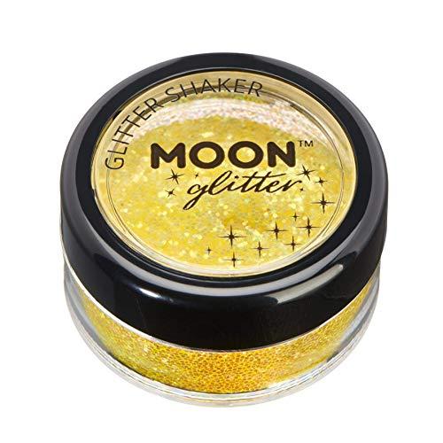 Shaker brillant iridescent par Moon Glitter (Paillette Lune) – 100% de paillettes cosmétique pour le visage, le corps, les ongles, les cheveux et les lèvres - 5g - Jaune