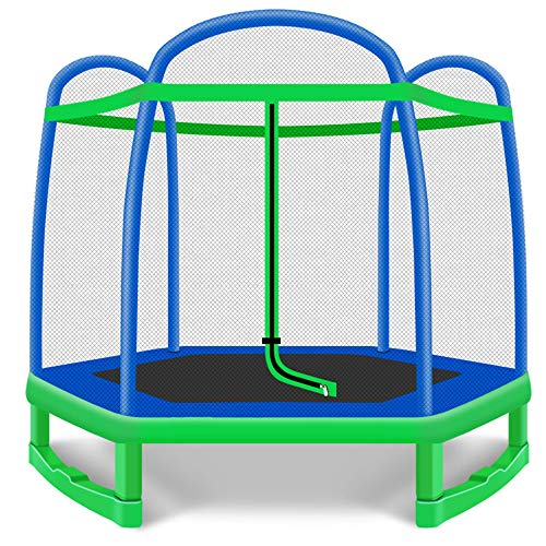 QXTT 7.2ft Trampoline With Enclosure For Kids Gardentrampoline Safety Net Enclosure Spring Cover Foam Padding Rust-Resistant Hot Dip Galvanised Frame Garden Outdoor