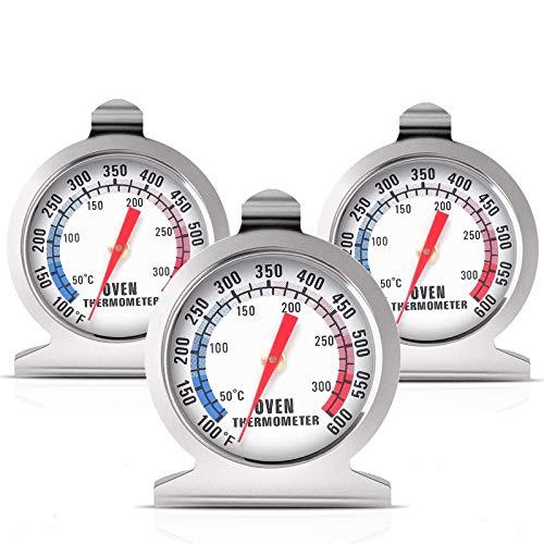 ZHITING 3 PCS Termómetro para Horno 0-300°C/100-600°F, Acero Inoxidable Termometros de Monitoreo para Hornear de Cocina para Asar, Hornear,BBQ Baking etc