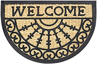 "Boucara Entrance Mat for Indoors or Outdoors in Coconut and Rubber, ""Welcome"" Design, 40 x 60 cm"