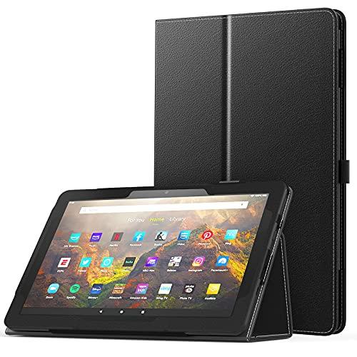 MoKo Custodia Compatibile con Nuovo Kindle Fire HD 10 & 10 Plus Tablet (11a Generazione, 2021 Versione), Custodia Pieghevole Funzione a Piedi Supporto, Auto Avvio/Arresto, Nero