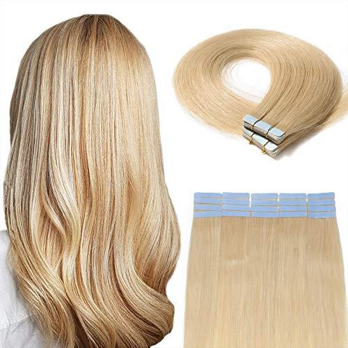 """20 Pcs Extension Adhesive Naturel Rajout Vrai Cheveux Humain Bande Adhesive Lisse (#613 Blond très clair, 22""""(55cm))"""
