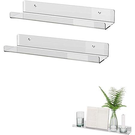 KITE-RUNNER Estantería flotante de pared, acrílico, flotante, montaje en pared, en forma de U, ideal para salón, dormitorio, pasillo, baño (2 ...