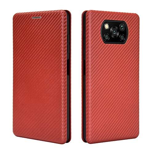 HEYB Cover per OnePlus Nord N100 Custodia,Pelle Premium Magnetica Flip con Slot Fibra di Carbonio Protettiva Custodia Compatible per OnePlus Nord N100 Case