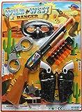 Imprints Plus Bundle Wild West Ranger 18-Piece Bundle Cowboy Dress-Up Accessories Includes Toy Pump-Action Shotgun with 6 Suction Tip Darts, Red Bandanna, 2 Silver Badges and 2 Click-Action Guns