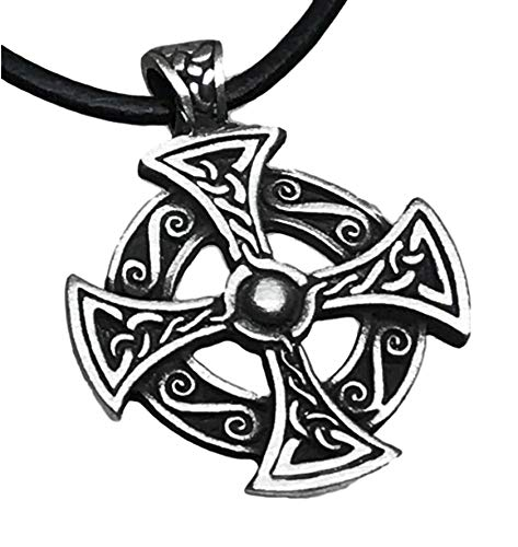 Trilogy Jewelry Pewter Solar Cross Celtic Druid Pagan Irish Pendant on Leather Necklace