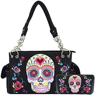 Sugar Skull Rose Heart Flower Day of the Dead Concealed Carry Purse Women Handbag Shoulder Bag Wallet Set (Black Set)