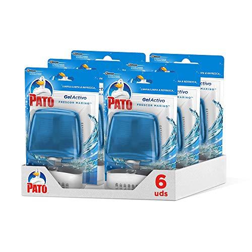 Pato - Gel Activo colgador para inodoro Marine, limpia y perfuma (Pack de 6)