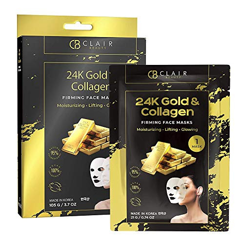CLAIR BEAUTY 24K Gold & Collagen Firming Sheet Face Mask - Moisturizing, Lifting & Illuminating | Reduces Fine Lines, Wrinkles & | Tones, Smooths & Evens Skin Tone | Made in Korea - 5 Pack