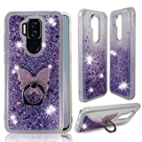 ZASE Design Clear Case for Cricket Influence/AT&T Maestro Plus Liquid Glitter Sparkle Bling Cute Girls Women Protective Flexible Soft Cover Floating Quicksand w/Phone Ring Holder Stand (Purple)