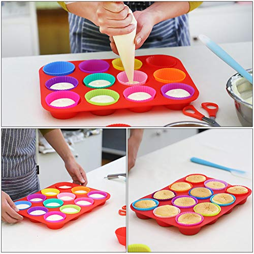 Kootek Silicone Muffin Pan Sets with 12 Cupcake Liners Cups, 4 Numbered Piping Tips, 10 Pastry Bags Non-stick Baking Pan for Cake, Cupcake Decorating Supplies