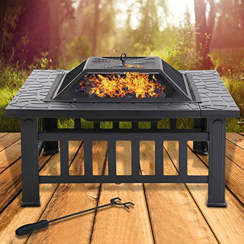 HHS 32 Metal Fire Pit Outdoor Square Firepit Wood Stove Camp Burning Stove Burner Portable with Spark Screen,Poker, Charcoal Rack Grate BBQ Table Wood Burning Fireplace for Patio