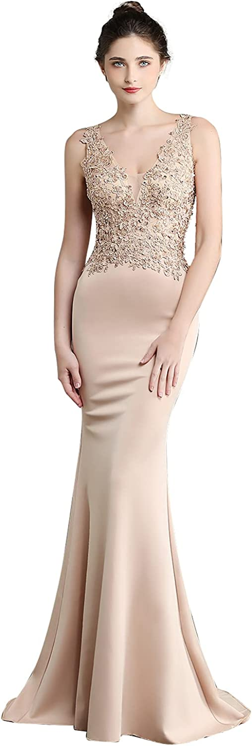 Women's Formal Evening Dresses Long Mermaid Beaded Lace Party Dresses